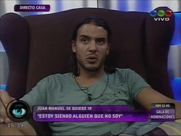 GH 2012: Juan Manuel fue al confesionario para apretar el botón rojo y…
