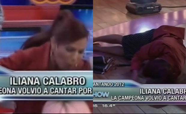 Tremenda caída de Iliana Calabró en Este es el Show: ¡mirá el video!