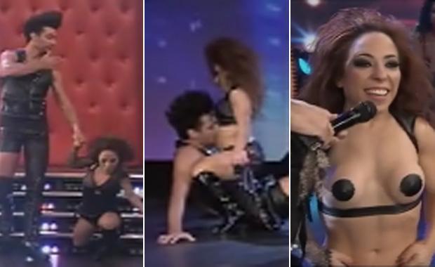 Noelia Pompa, stripdance caliente, topless ¡y una tropezón que fue caída!
