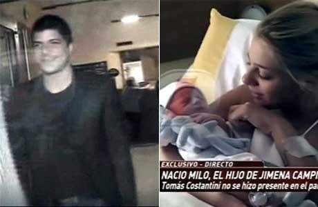 La visita de Tomás Costantini a Jimena Campisi y su hijo recién nacido