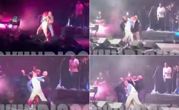 El video de René Pérez peleando con un fan en medio de un show: abrazo, forcejeo ¡y trompada!