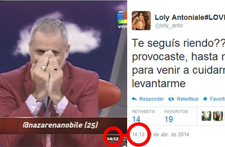 Jorge Rial se divertía en TV... y Loly contraatacó en Twitter: