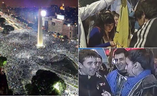 Emoción y reconocimiento al equipo en los festejos de la hinchada argentina