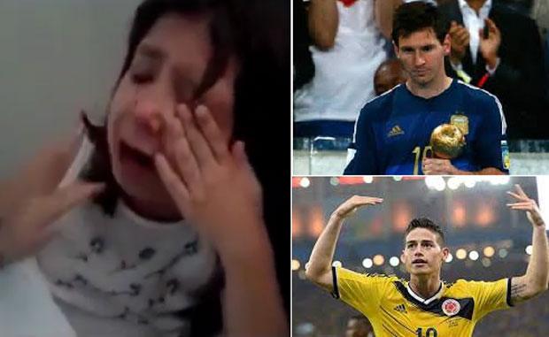 El llanto desconsolado de una nena porque le dieron el Balón de Oro a Messi y no a James Rodríguez