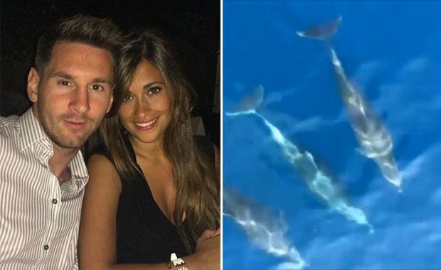 Lionel Messi y Antonella Roccuzzo navegando con delfines en Italia
