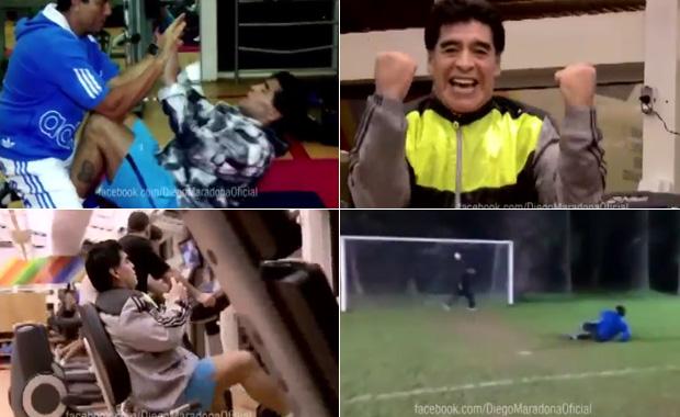 El video del duro entrenamiento de Diego Maradona para el Partido por la Paz
