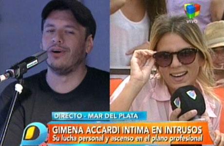 Gimena Accardi le dio un móvil a Intrusos, pero antes hizo una ocurrente advertencia en Twitter