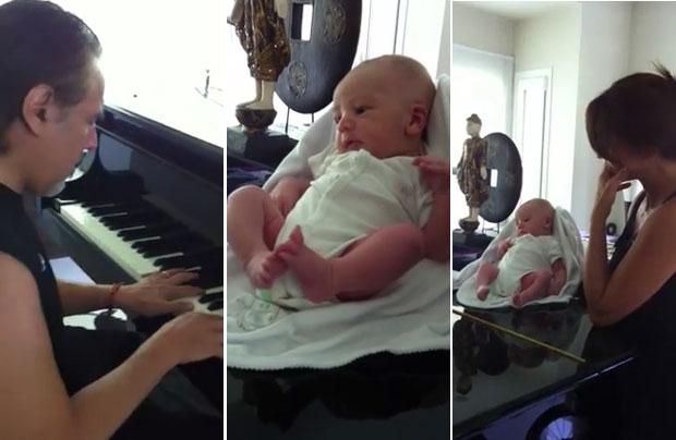 El tierno video de Alejandro Lerner con su bebé tocando el piano