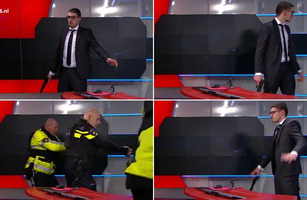 Un hombre ingresó armado a un noticiero holandés exigiendo salir en vivo