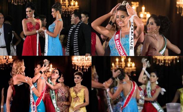 Finalista despechada le arranca la corona a Miss Amazonas 2015