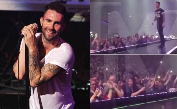 El cantante de Maroon 5 golpea accidentalmente a una fanática con su micrófono