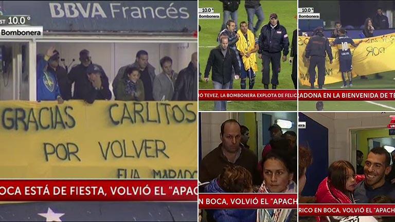 Carlitos Tevez volvió a la Bombonera y Diego Maradona lo recibió desde su palco y con una bandera: el emotivo momento