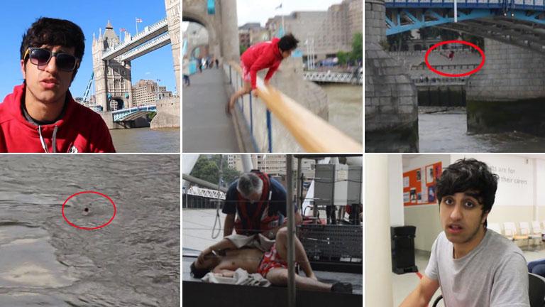 ¡Broma suicida! Un youtuber quiso hacerse el gracioso saltando desde el Puente de Londres y casi se ahoga