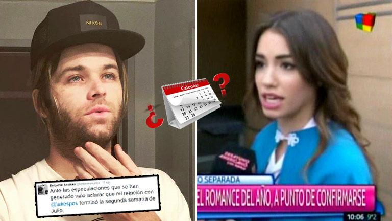 La respuesta de Lali a la curiosa aclaración de Benja Amadeo sobre la fecha de la ruptura