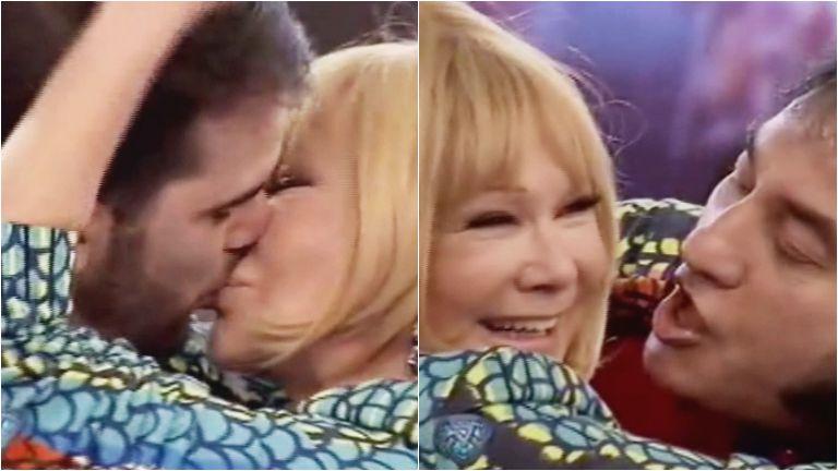 El beso de Soledad Silveyra con el imitador de Sandro y con un camarógrafo de ShowMatch