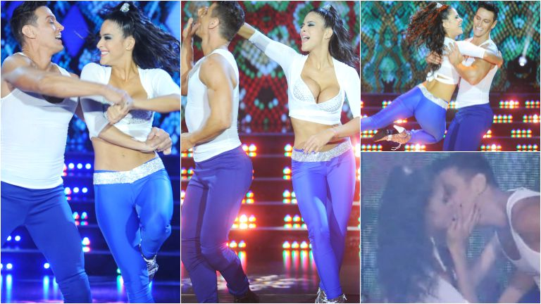 Celeste Muriega levantó la temperatura en ShowMatch: infartante escote y tremendo beso con su bailarín
