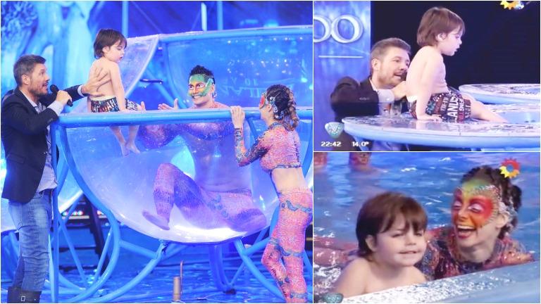 ¡Al agua pato! El hijo de Gisela Bernal y Marcelo Tinelli se divirtieron en la previa del aquadance