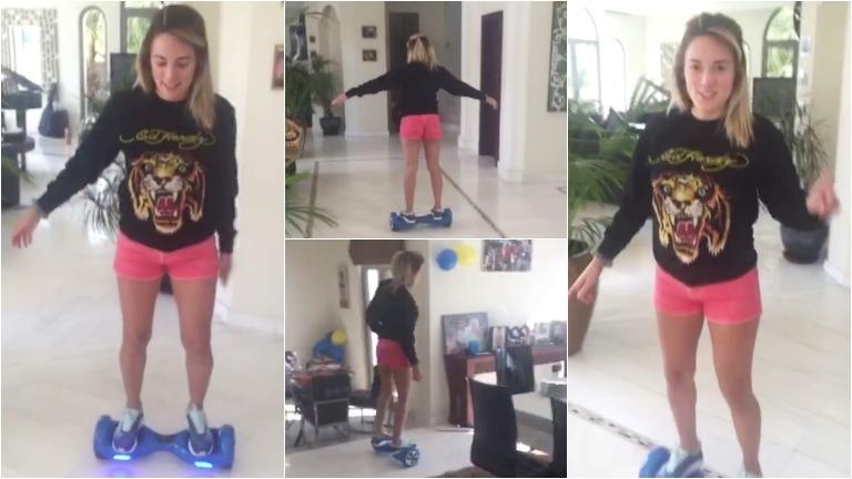 Rocío Oliva en Hovertrax por la mansión de Maradona
