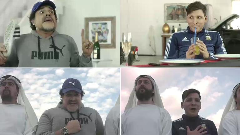 El divertido video de Martín Bossi: Maradona le enseña a Messi cómo cantar el himno con pasión