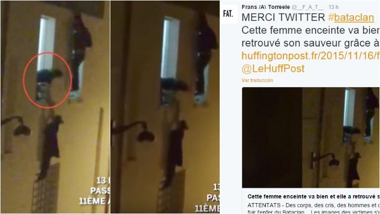 El video de la mujer embarazada que se colgó de una ventana para salvarse de la tragedia de París