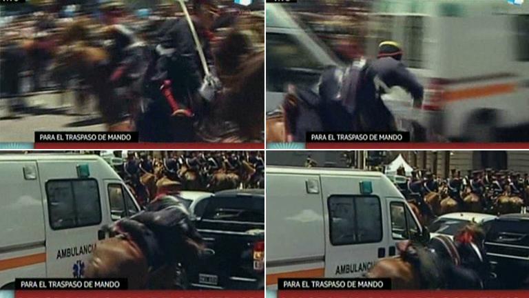 ¡El blooper del Granadero! El caballó que corcoveó y casi choca contra una camioneta en medio de la asunción de Mauricio Macri: el video