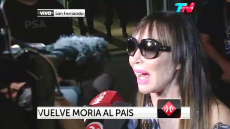 Moria Casán ya está en la Argentina