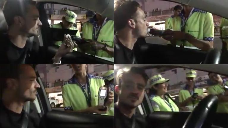 Chano de Tan Biónica realizó un control de alcoholemia y se sacó selfies con los agentes de tránsito: cómo le dio el test