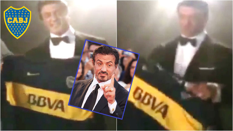 Silvester Stallone posó con la camiseta de Boca