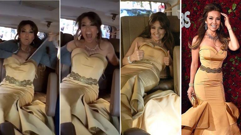 El video de Thalia cambiándose en el auto en viaje a la ceremonia de los premios Tony