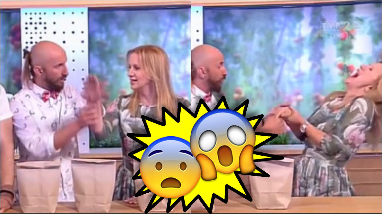 Un truco de magia salió mal en un show de la TV polaca y terminó con la conductora herida
