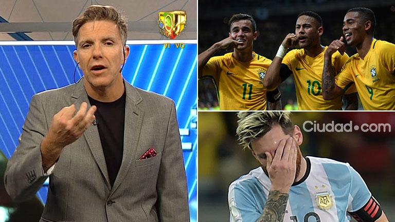 """Alejandro Fantino y su durísimo editorial, tras la goleada de Brasil a la Selección: """"Les dije de todo, pero en el piso no les pego y éstos están en el piso"""""""