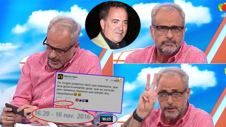Los repudiables tweets de Marcelo Open contra Rial y la respuesta de Jorge en Intrusos