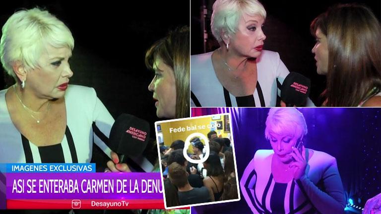 La reacción de Carmen Barbieri al enterase en una nota que habría una orden de detención para Fede Bal tras la pelea en el local de comidas