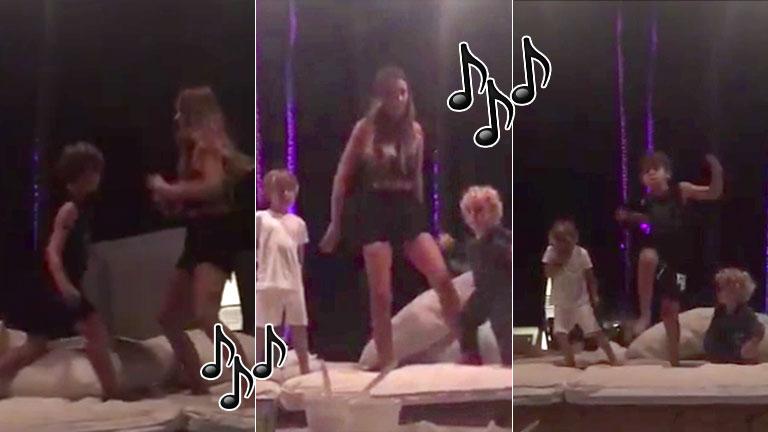 Los divertidos videos de Pampita bailando con Bautista, Beltrán y Benicio: