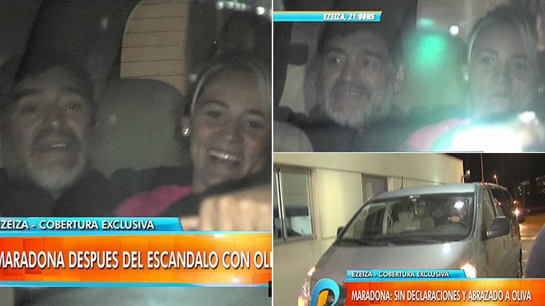 Tras el escándalo en Madrid, Diego Maradona y Rocío Oliva volvieron a la Argentina juntos y sonrientes