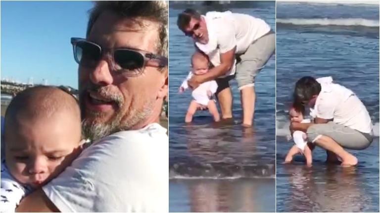 El video súper tierno de Valentín, el hijo del Chato Prada y Lourdes Sánchez, conociendo el mar