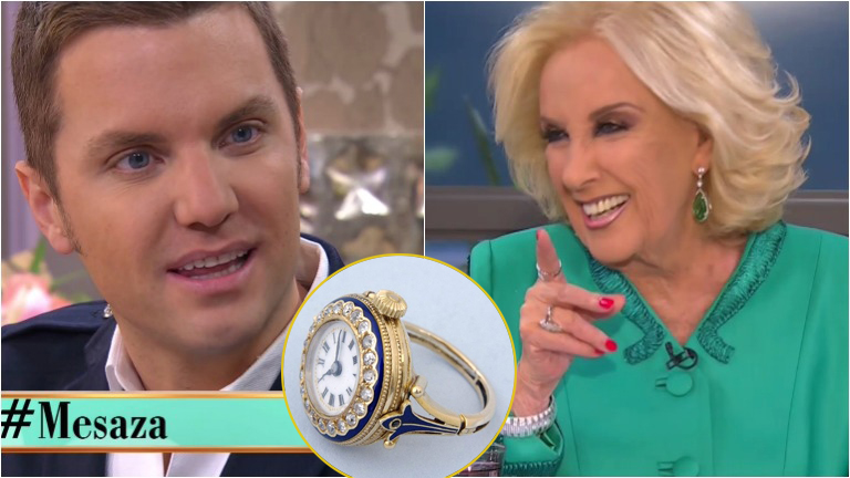 Mirtha Legrand le regaló en vivo un anillo a las hijas de Santiago del Moro