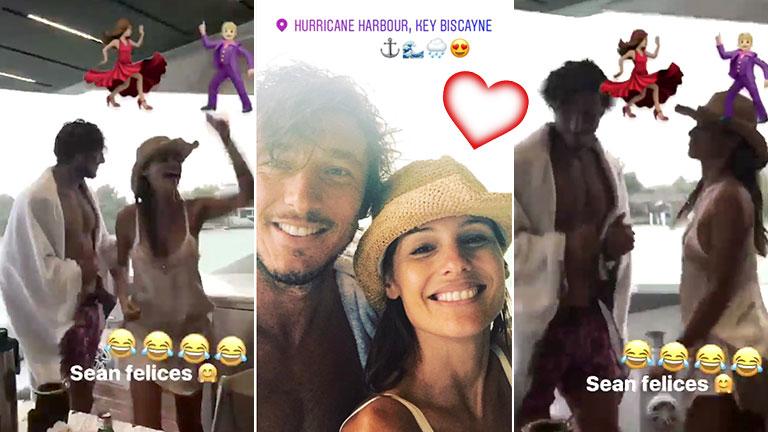 Pampita y Pico Mónaco bailando en un yate en las costas de Miami