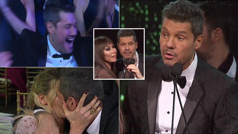 Marcelo Tinelli, alegría y súper beso con Guillermina Valdés tras ganar el Martín Fierro