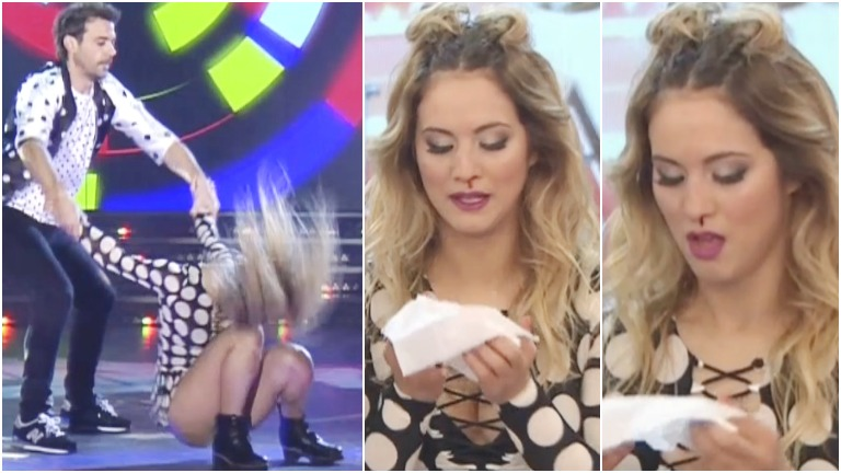 Flor Vigna se dio un rodillazo en Bailando 2017 y quedó con la nariz sangrando