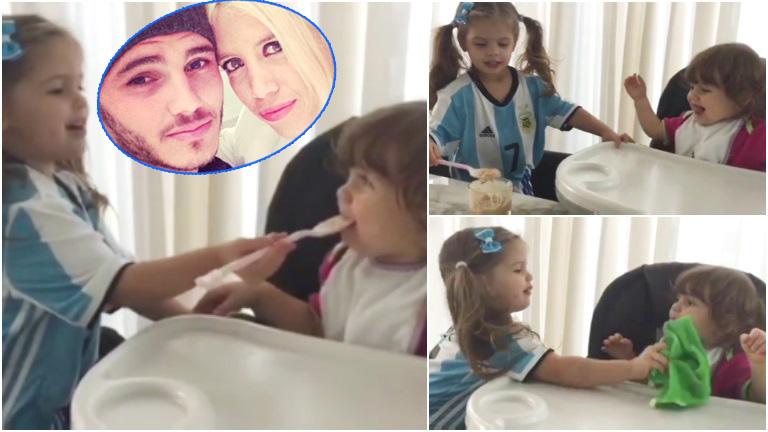 El tierno video de la hija mayor de Wanda Nara y Mauro Icardi alimentando a su hermanita