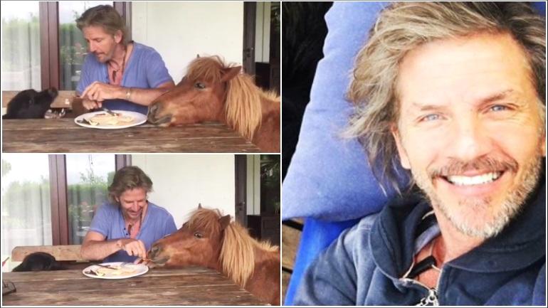 El divertido video de Facundo Arana alimentando a un perro y un pony