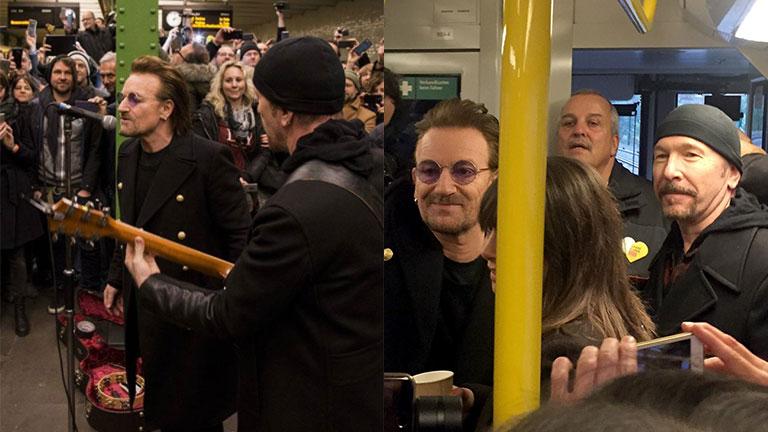 U2 y un show sorpresa en el subte de Berlín