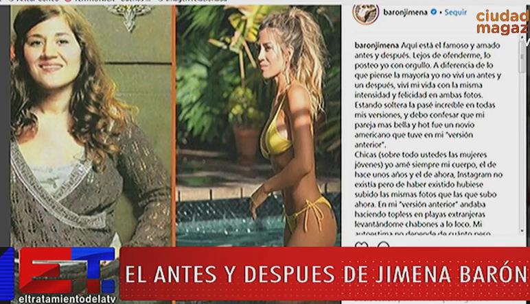 El antes y después de Jimena Barón