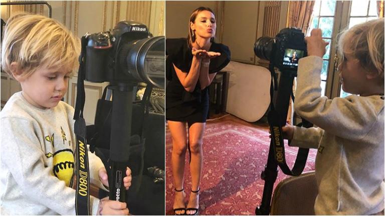 Pampita llevó a su hijo a una producción... ¡y se adueñó de la cámara!