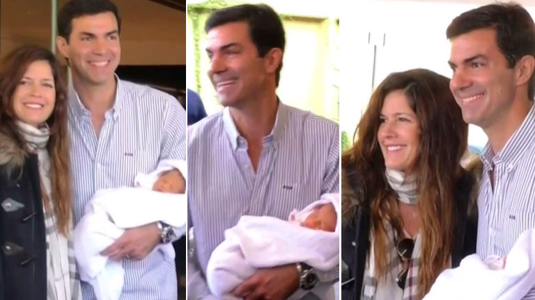 Isabel Macedo y Juan Manuel Urtubey junto a su beba, tras recibir el alta médica