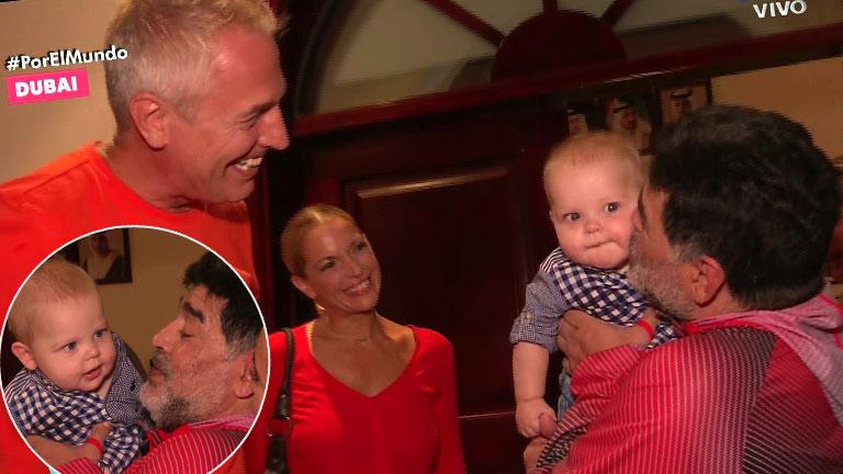 ¡Mirko, por el mundo! Maradona recibió a Marley en su casa de Dubai: el tierno encuentro con el bebé del conductor