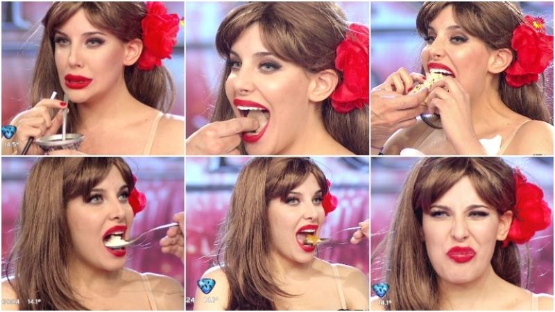 Charlotte Caniggia se animó a probar distintas comidas en ShowMatch (Fotos: Captura)