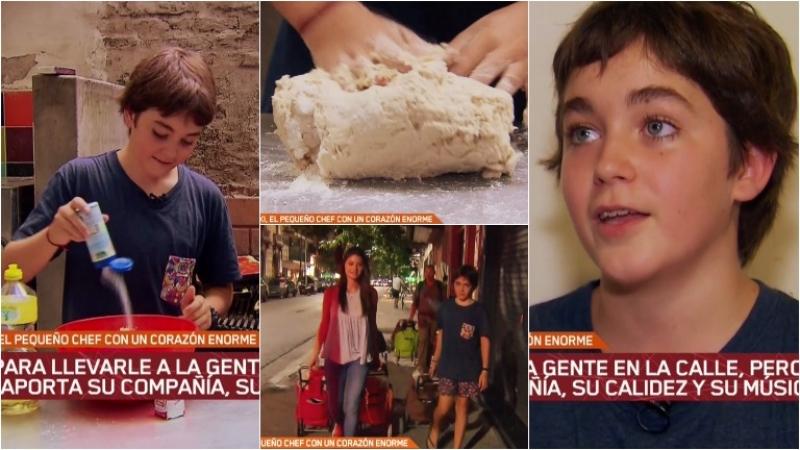 La conmovedora historia de Iñaki, el chico de 12 años que cocina para la gente que vive en la calle. Foto: Captura