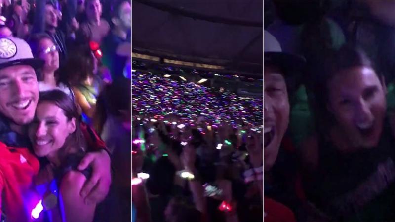 Pampita y Pico Mónaco, divertida salida de novios al recital de Coldplay